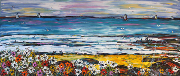 Rock Pools Daisies and Fisherman 2.5m x 1.1m