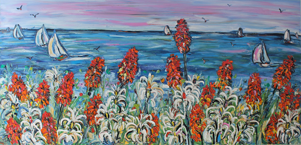 Red Hot Poker and Lilies Vista 2.5m x 1.1m