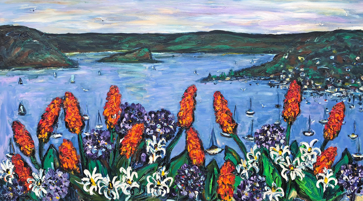 Red Hot Pokers over Lion Island Pittwater 200cm x 100cm