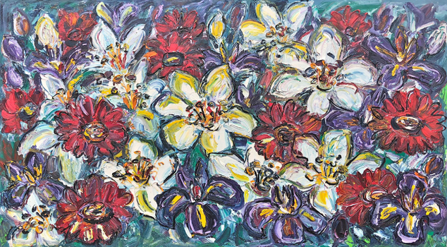 Irises Gerbras and Lillies 200cm x 100cm