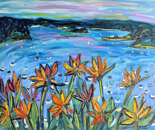 Birds of Paradise over Pittwater 1.2m X 1m